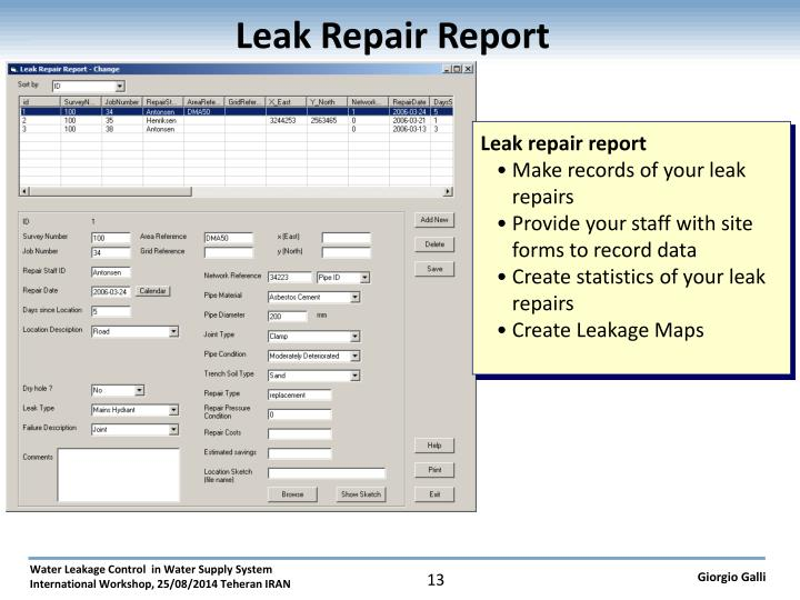 Leak Repair Report