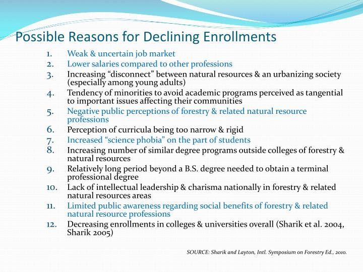 Possible Reasons for Declining Enrollments