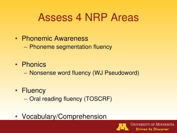 Assess 4 NRP Areas