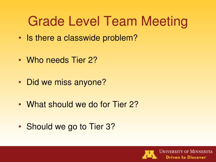 Grade Level Team Meeting