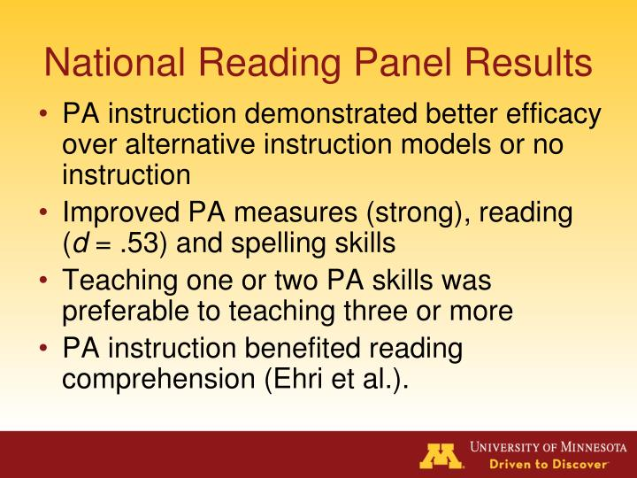 National Reading Panel Results