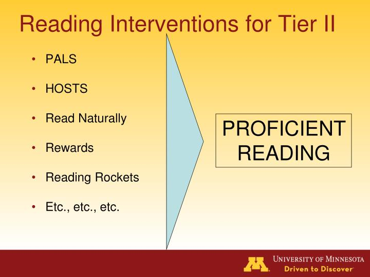 Reading Interventions for Tier II