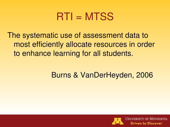 RTI = MTSS