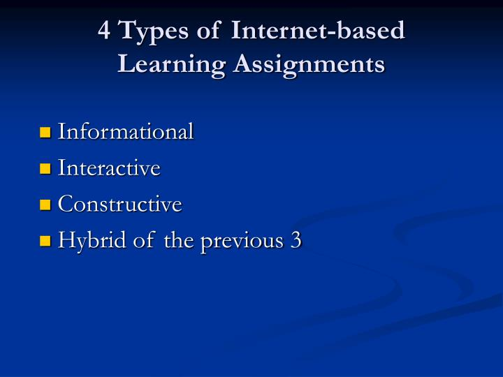 4 types of internet based learning assignments