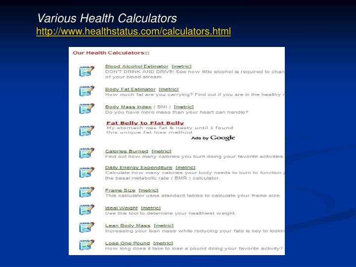 Various Health Calculators