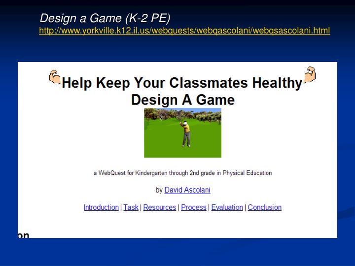 Design a Game (K-2 PE)