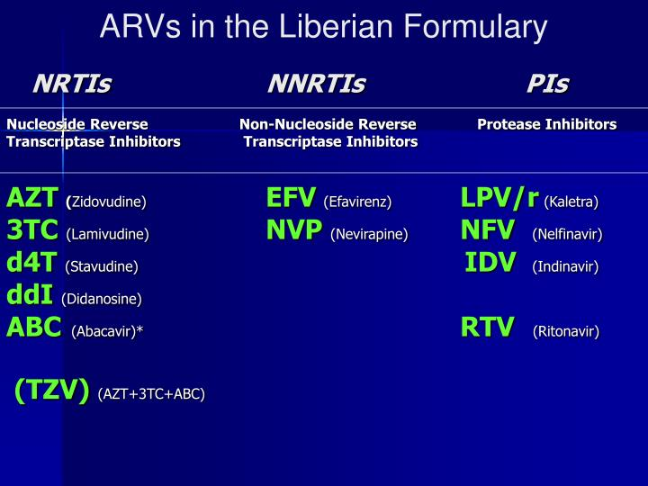 ARVs in the Liberian Formulary