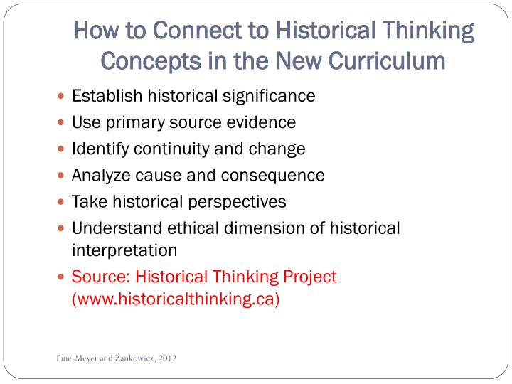 How to Connect to Historical Thinking Concepts in the New Curriculum