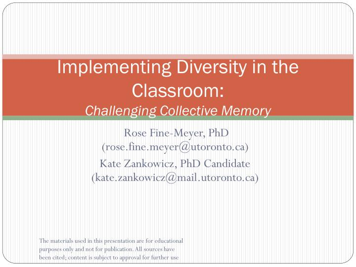 Implementing diversity in the classroom challenging collective memory