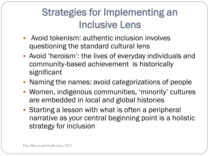 Strategies for Implementing an Inclusive Lens