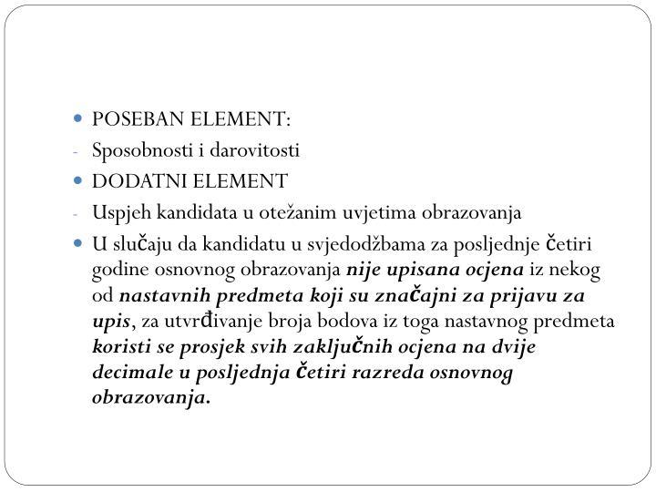 POSEBAN ELEMENT: