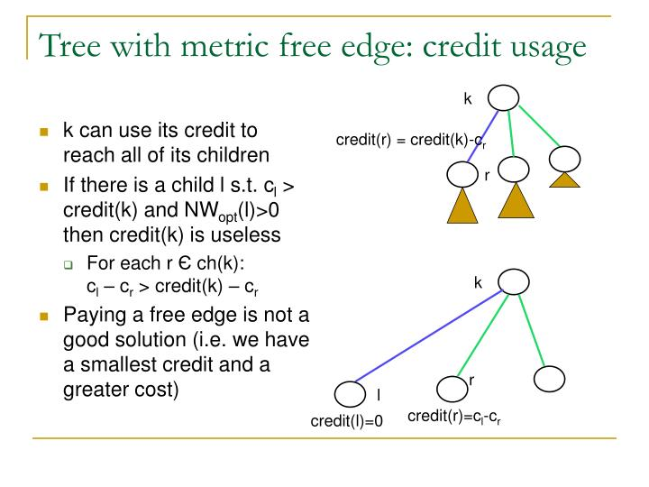 Tree with metric free edge: credit usage