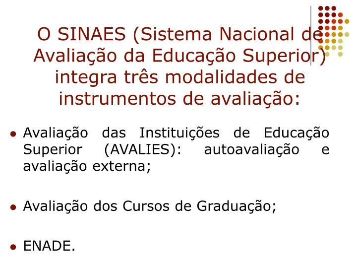 O SINAES (Sistema Nacional de Avaliação da Educação Superior) integra três modalidades de instrumentos de avaliação: