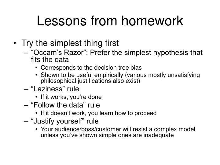 Lessons from homework