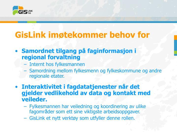 GisLink imøtekommer behov for