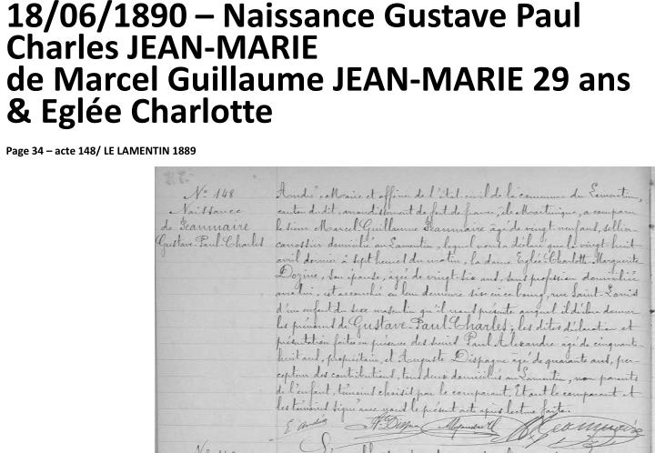 18/06/1890 – Naissance Gustave Paul Charles JEAN-MARIE