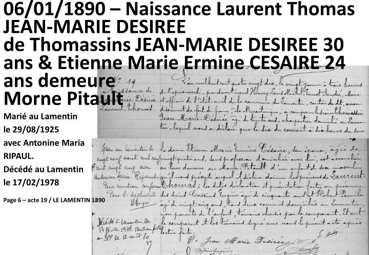 06/01/1890 – Naissance Laurent Thomas JEAN-MARIE DESIREE