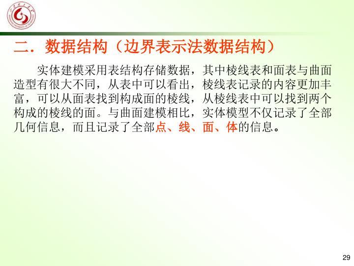 二.数据结构(边界表示法数据结构)