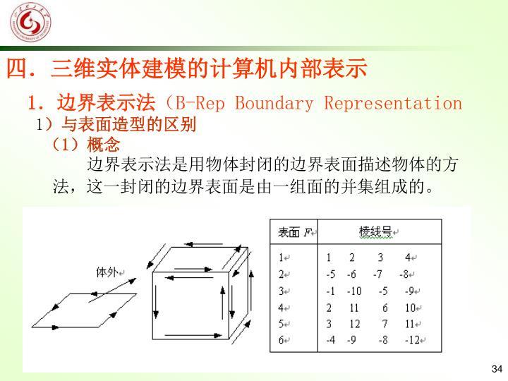 四.三维实体建模的计算机内部表示
