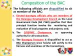 composition of the bac