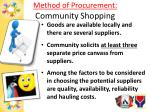 method of procurement community shopping