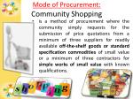 mode of procurement community shopping