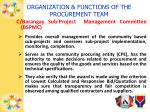 organization functions of the procurement team