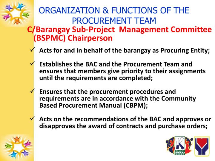 ORGANIZATION & FUNCTIONS OF THE PROCUREMENT TEAM