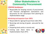 other stakeholders in community procurement
