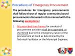procedures of emergency procurement
