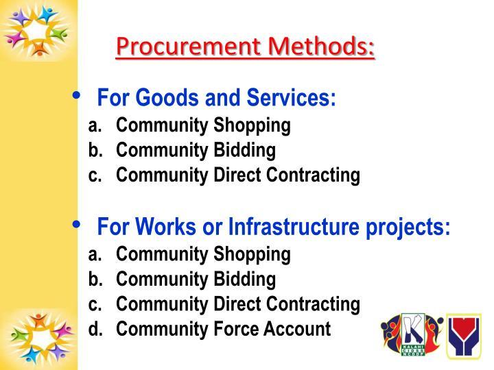 Procurement Methods: