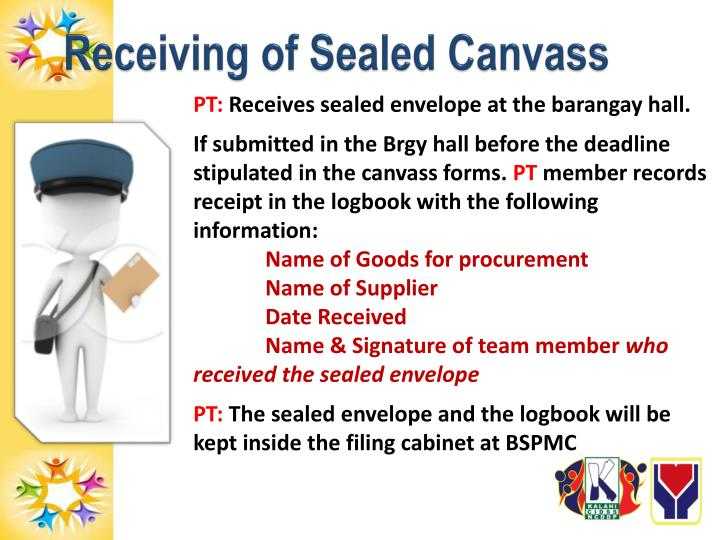 Receiving of Sealed Canvass