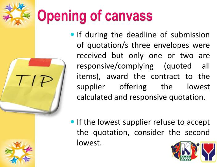 Opening of canvass