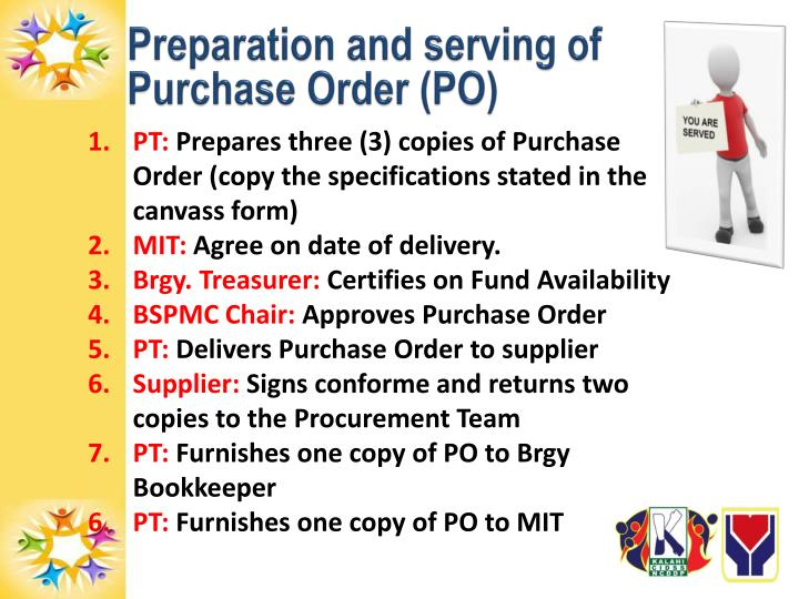 Preparation and serving of Purchase Order (PO)