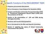 specific functions of the procurement team