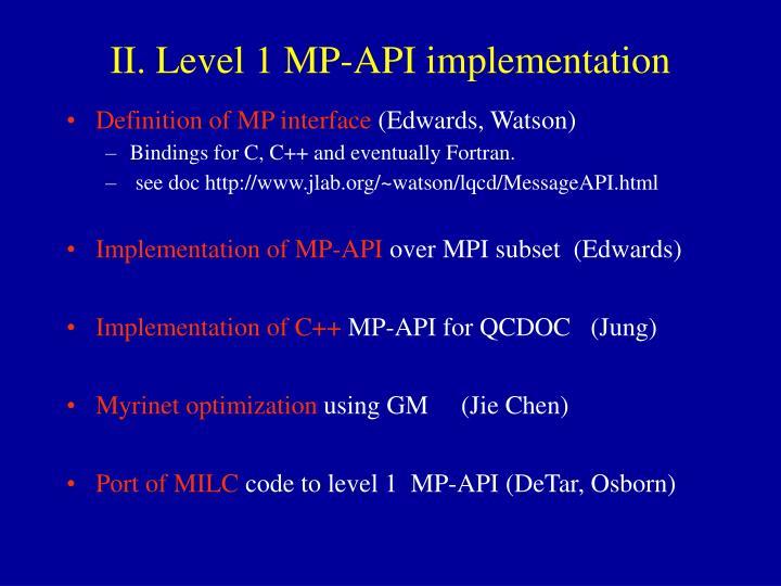 II. Level 1 MP-API