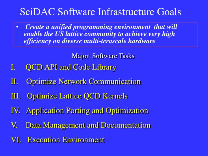 SciDAC Software Infrastructure Goals