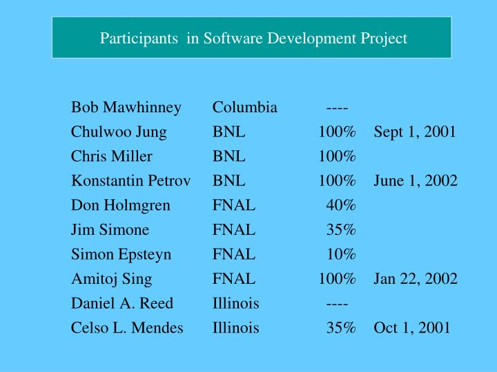 Participants  in Software Development Project