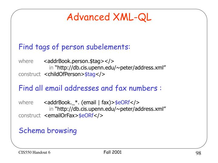 Advanced XML-QL