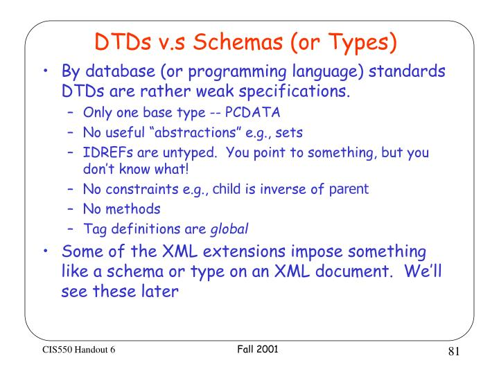 DTDs v.s Schemas (or Types)