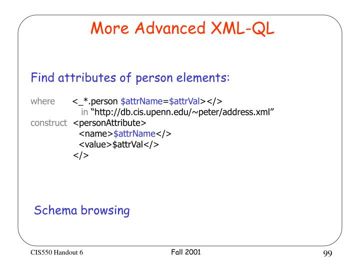 More Advanced XML-QL