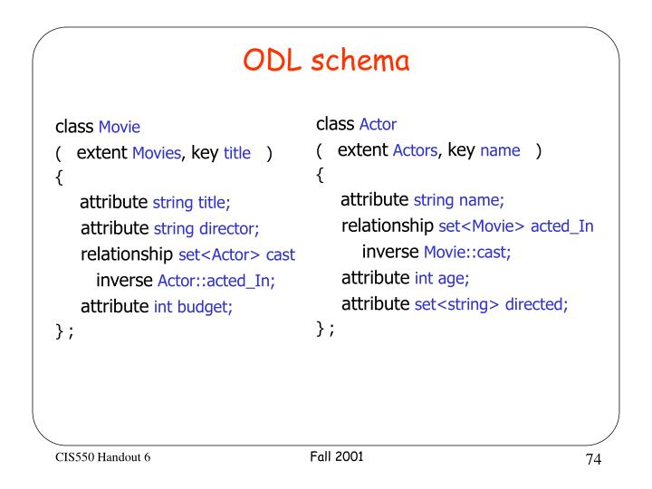 ODL schema