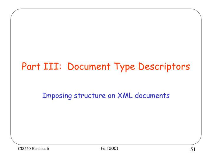 Part III:  Document Type Descriptors