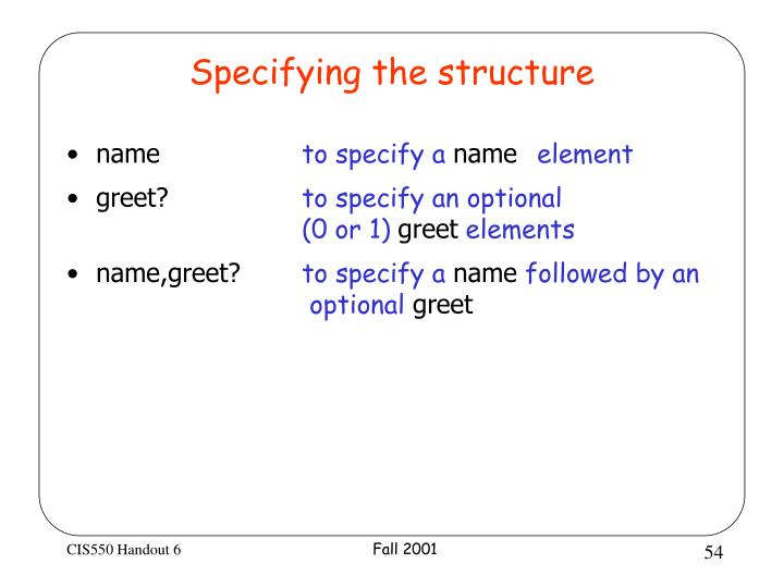 Specifying the structure