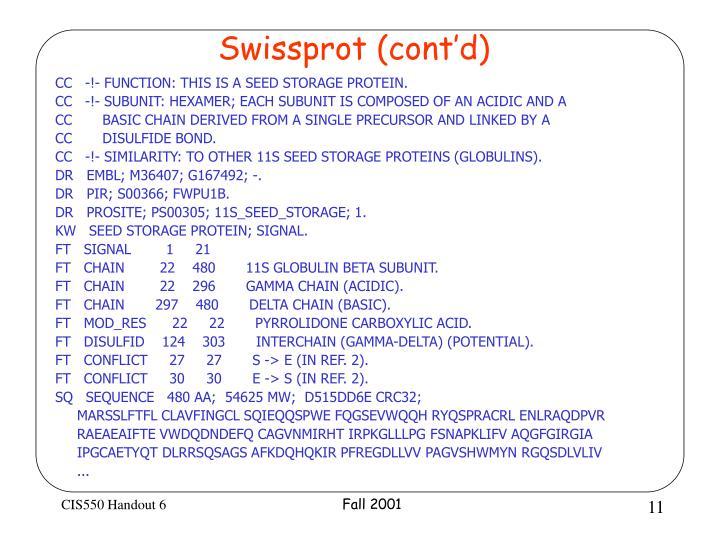 Swissprot (cont'd)