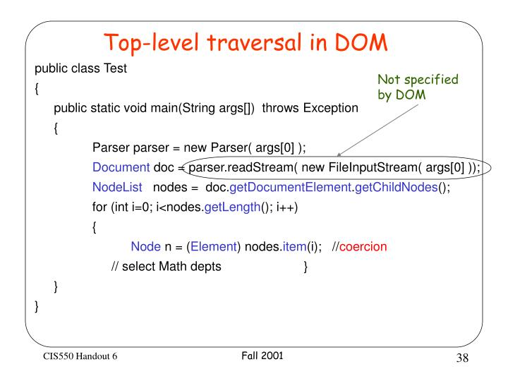 Top-level traversal in DOM