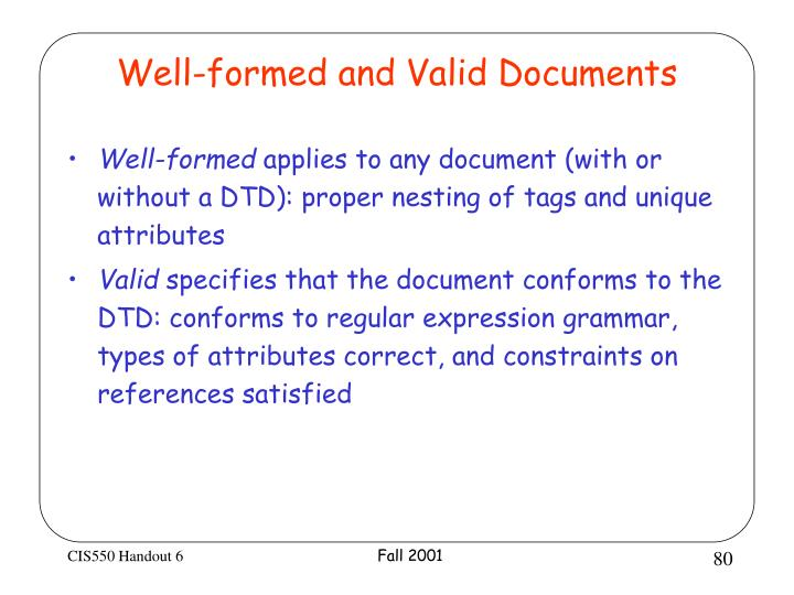 Well-formed and Valid Documents