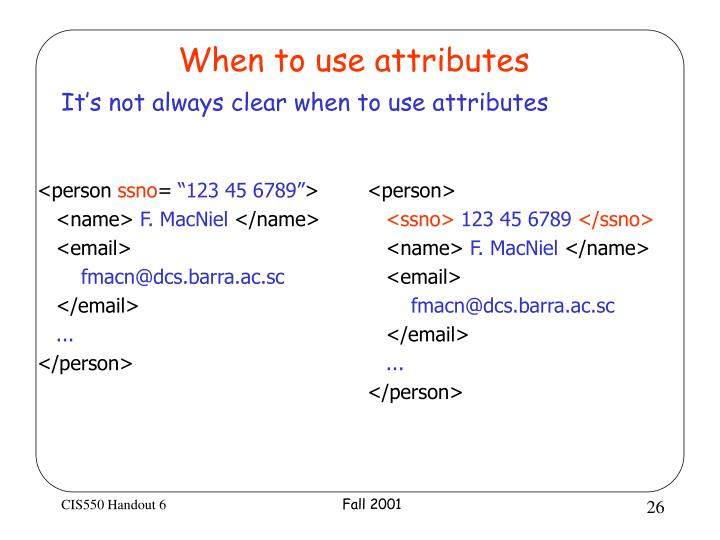 When to use attributes