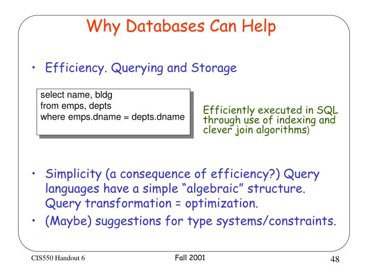 Why Databases Can Help