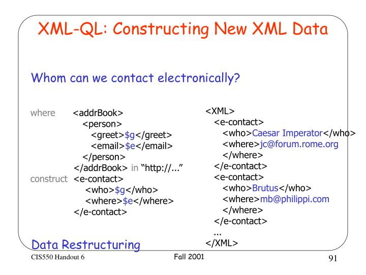XML-QL: Constructing New XML Data